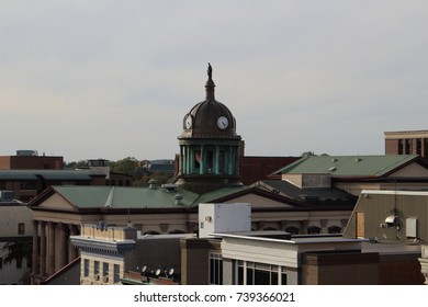 Downtown Lancaster, PA courthouse shot from top of building