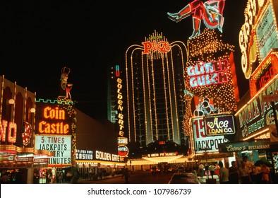 Downtown Las Vegas, Nevada at night