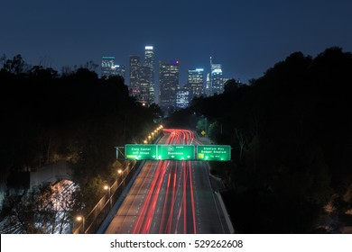 Downtown Los Angeles over freeway traffic