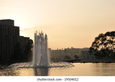 Downtown Los Angeles plaza fountain at sunset