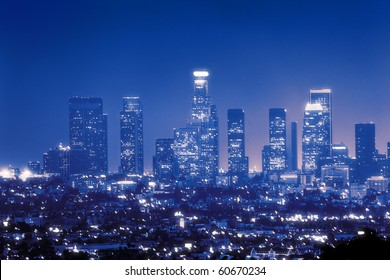 Downtown Los Angeles skyline at night