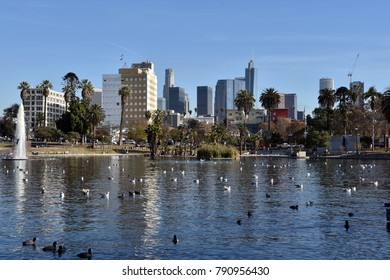 The downtown Los Angeles Skyline seen from MacArthur Park
