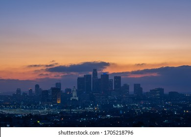 Downtown Los Angeles and Skyline at Sunset from Ascot Hills Park