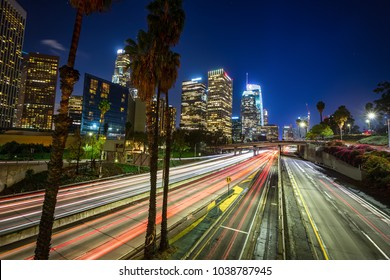 Downtown Los Angeles, skyline with trail lights, California, USA