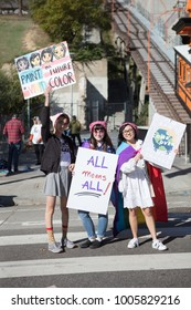 Downtown Los Angeles, USA - 20 January 2018. EDITORIAL - Demonstrators carry signs in downtown during the Women's March to protest Donald Trumps tone towards women and minority groups