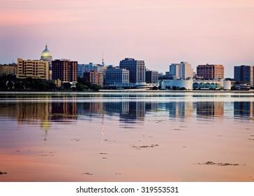 Downtown Madison seen acrross Lake Monona, sunset time. Madison, Wisconsin, USA.