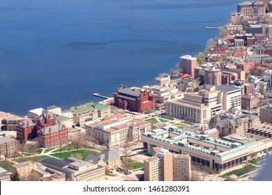 Downtown Madison Wisconsin Fly Over Aerial