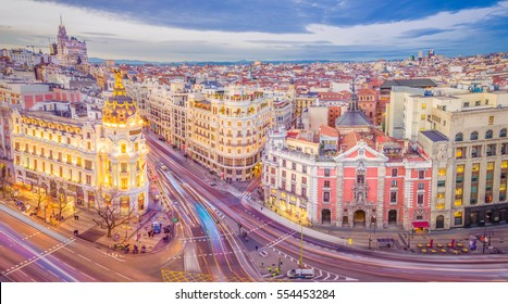 Downtown Madrid, Spain, where the Calle de Alcala meets the Gran Via. These are two of the most famous and busy streets in Madrid.