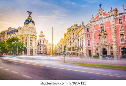 Downtown Madrid, Spain, where the Calle de Alcala meets the Gran Via. These are some of the most famous and busy streets in Madrid.