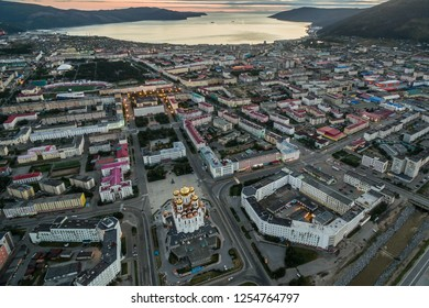 Downtown Magadan. Russia. View from height.