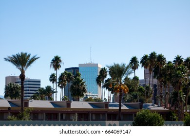 Downtown of a major Arizona city of Tucson full of high rise office buildings; back lit shot.