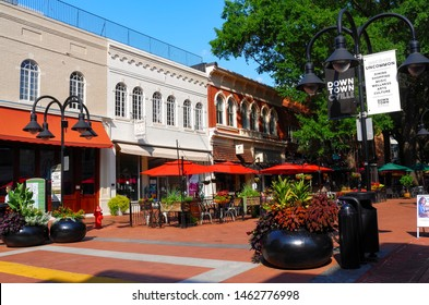 The Downtown Mall in Charlottesville, VA USA on July 27 , 2019. The site was the site of a violent white supremacist rally that led to one death and multiple injuries.