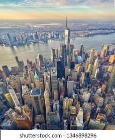 Downtown Manhattan aerial vertical panorama with vertigo effect