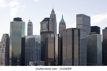 Downtown Manhattan buildings view from the Brooklyn Bridge