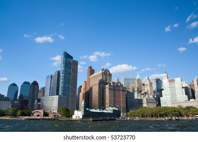 Downtown Manhattan city skyline viewed from a tour boat
