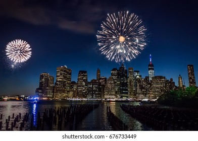 Downtown Manhattan during the Independence Day fireworks
