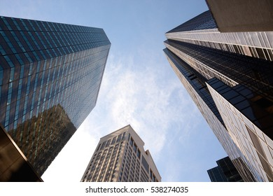 Downtown Manhattan/ The financial district skyscrapers seen from below