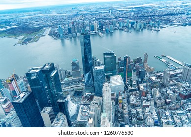 Downtown Manhattan and Jersey City as seen from the helicopter.