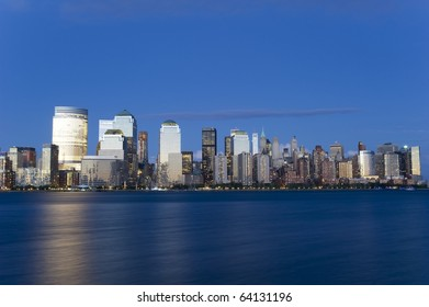 Downtown Manhattan skyline during the blue hour at sunset