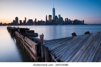 Downtown Manhattan Skyline at sunrise as seen from Jersey City
