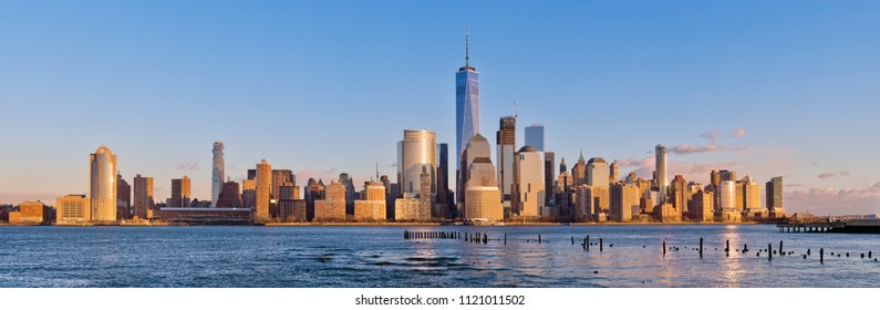 Downtown Manhattan skyline at sunset, New York City, USA
