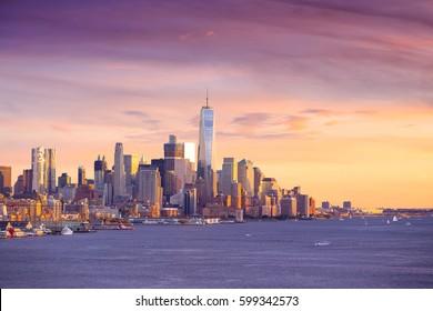 Downtown Manhattan skyline at sunset New York City