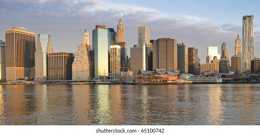 Downtown Manhattan skyline taken in the light of the early morning sun