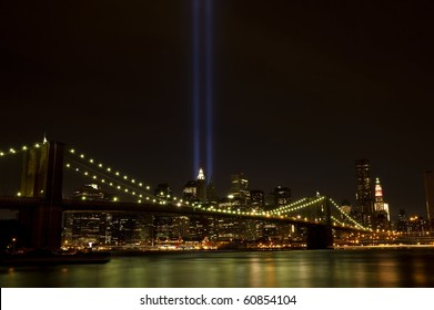 Downtown Manhattan with twin tower light beams, photographed on 9-11-2010