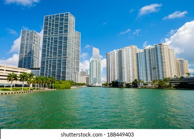Downtown Miami along Biscayne Bay with Brickell Key in the background.