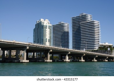 Downtown Miami with the Biscayne Bay Bridge in foreground, Florida USA