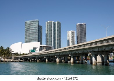 Downtown Miami with the Biscayne Bridge in foreground, Florida USA