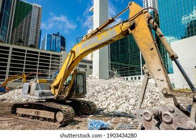Le site de démolition et de construction du centre-ville de Miami, dans le quartier de Brickell.