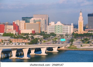 downtown miami florida and the Freedom Tower landmark as seen from Port terminal