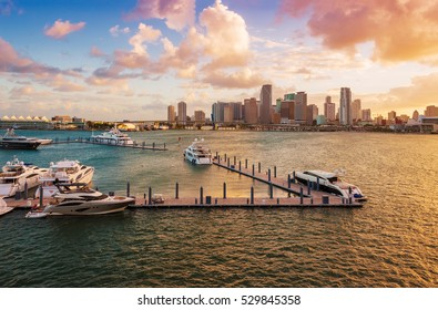 Downtown Miami, Florida, USA, and the port, seen from MacArthur Causeway at sunset.