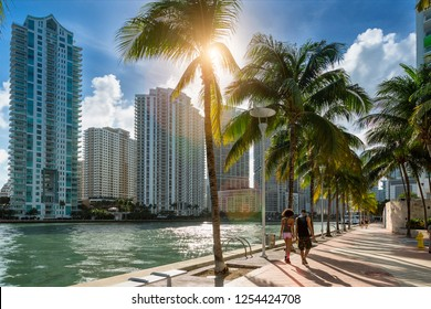Downtown Miami, People Walking along Miami River
