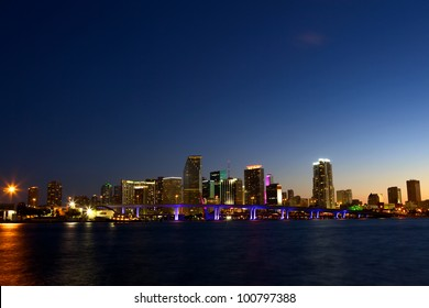Downtown Miami skyline and Biscayne Bay at dusk, USA