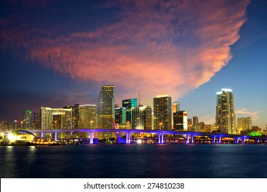 Downtown Miami skyline at dusk, Florida, United States