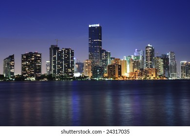 The downtown Miami skyline viewed at night.