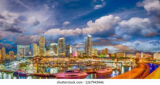 Downtown Miami at sunset, Florida.