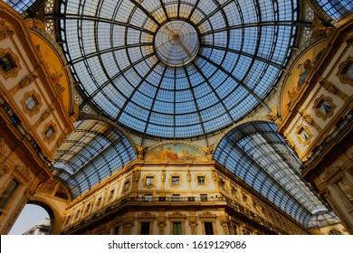 Downtown Milano Italy - january 2019 - Galleria Vittorio Emanuele II ceiling