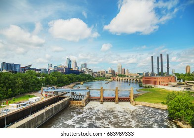 Downtown Minneapolis, Minnesota with Mississippi river in the morning
