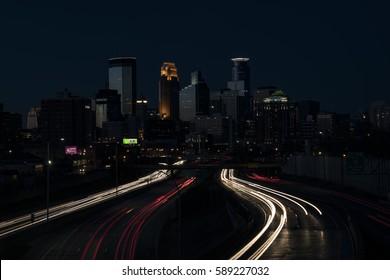 Downtown Minneapolis at night.