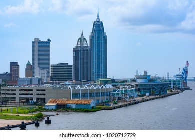 Downtown of Mobile, AL. View from port