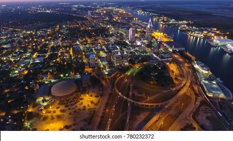 Downtown Mobile, Alabama at night