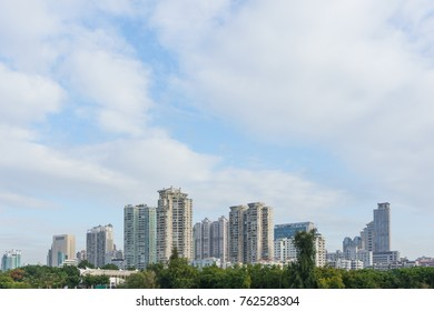 Downtown modern building with blue sky background, Xiamen, China