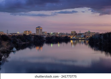 Downtown Montgomery and the Alabama River at dusk in Montgomery, Alabama