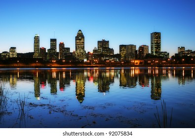 Downtown Montreal City at Sunset