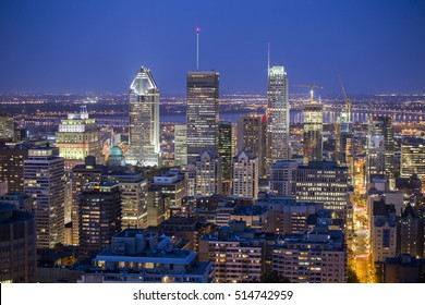 Downtown of Montreal at dusk- Quebec-Canada