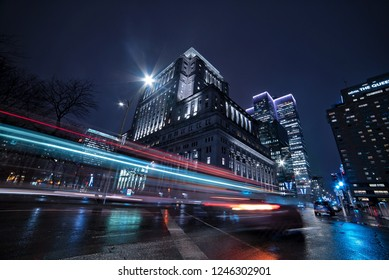 Downtown Montreal Night-scape: Sun Life Building & Place Ville-Marie