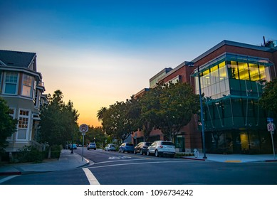Downtown Mountain View, California, USA.  Evening Sunset.